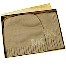 MICHAEL KORS 水鑽LOGO造型實用毛帽圍巾組(卡其)