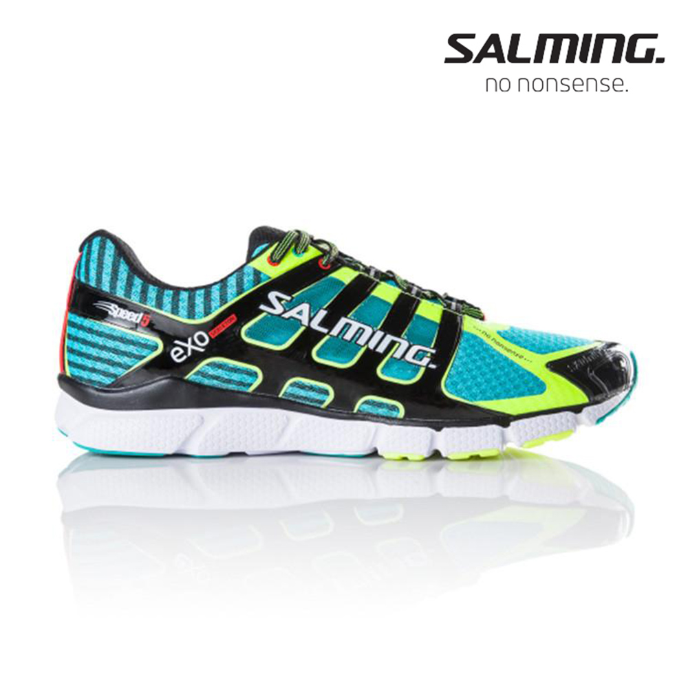 Salming SPEED 5 寬楦 男賽訓慢跑鞋 藍綠