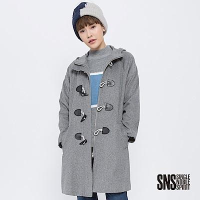 SNS 英倫學院牛角釦連帽羊毛大衣(1色)