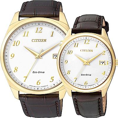 CITIZEN Eco-Drive 光動能經典簡約對錶-金框x咖啡/42+35mm