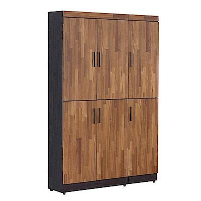 文創集 羅姆時尚4尺雙色六門高鞋櫃/玄關櫃-120x32x180cm免組