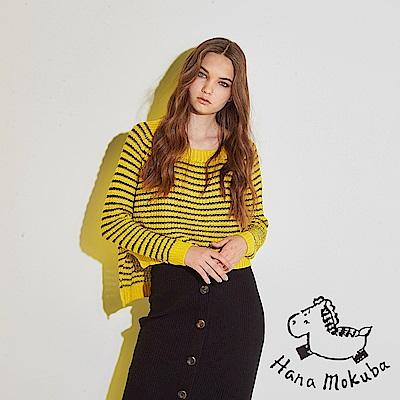 Hana+花木馬 百搭款前短後長條紋印花微寬粗針織必備造型上衣-黃(共3色)