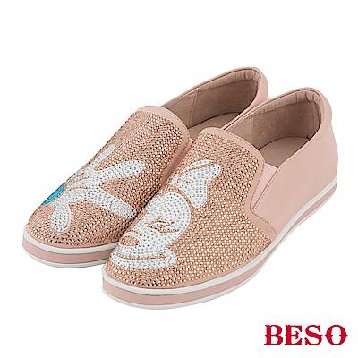 BESO 發燒話題 卡通燙鑽不對稱休閒鞋~粉