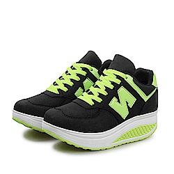 韓國KW美鞋館 冬氛必備皮面布加厚底健走鞋-黑色