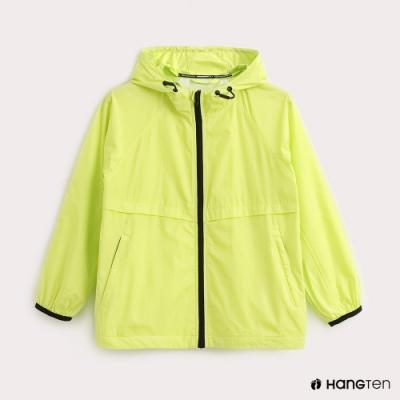 Hang Ten-ThermoContro-童裝薄夾克收納風衣外套-螢光綠