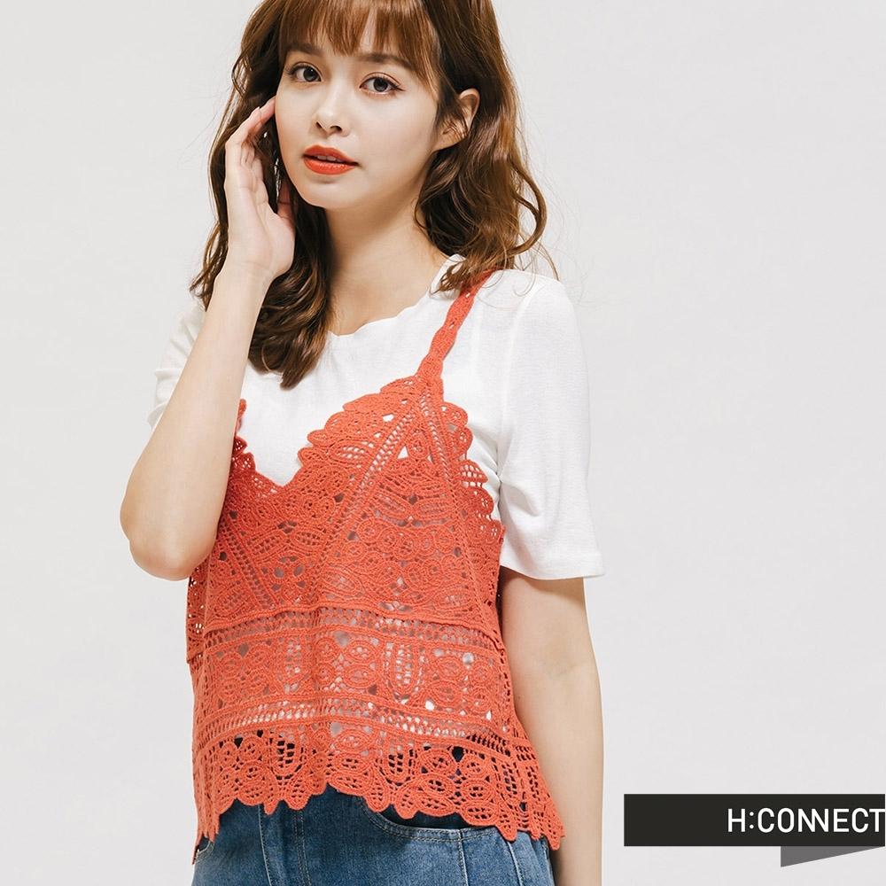 H:CONNECT 韓國品牌 女裝 -繡花針織背心兩件式上衣-紅