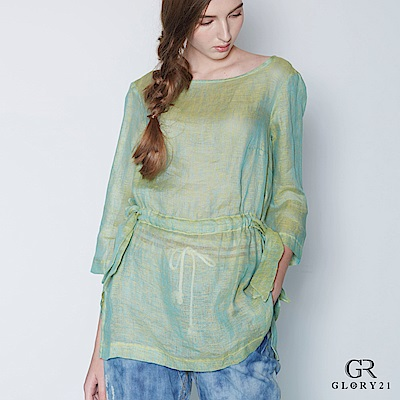 GLORY21 GR21 亞麻綁帶上衣-綠
