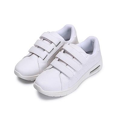 BuyGlasses 免綁帶純白厚底休閒鞋-白