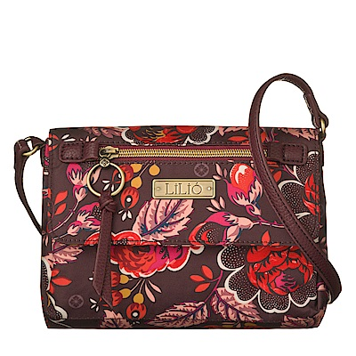 翻蓋方型斜背包-法國玫瑰復刻印花-胭脂紅LiliO