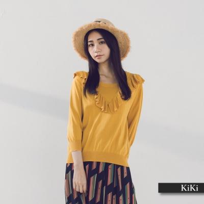 【KiKi】珠飾荷葉造型七分袖-針織衫(三色/版型適中)