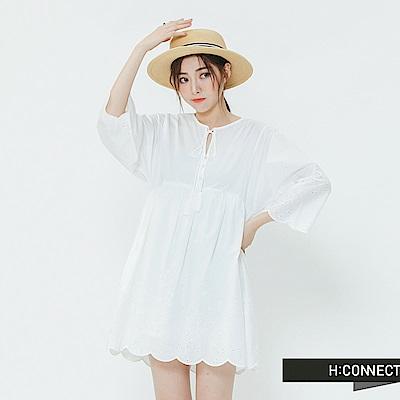 H:CONNECT 韓國品牌 女裝-蕾絲繡花綁結洋裝-白