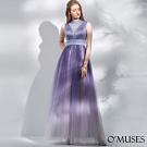 OMUSES 重工珠飾蕾絲簍空拼接緞網紗漸層長禮服