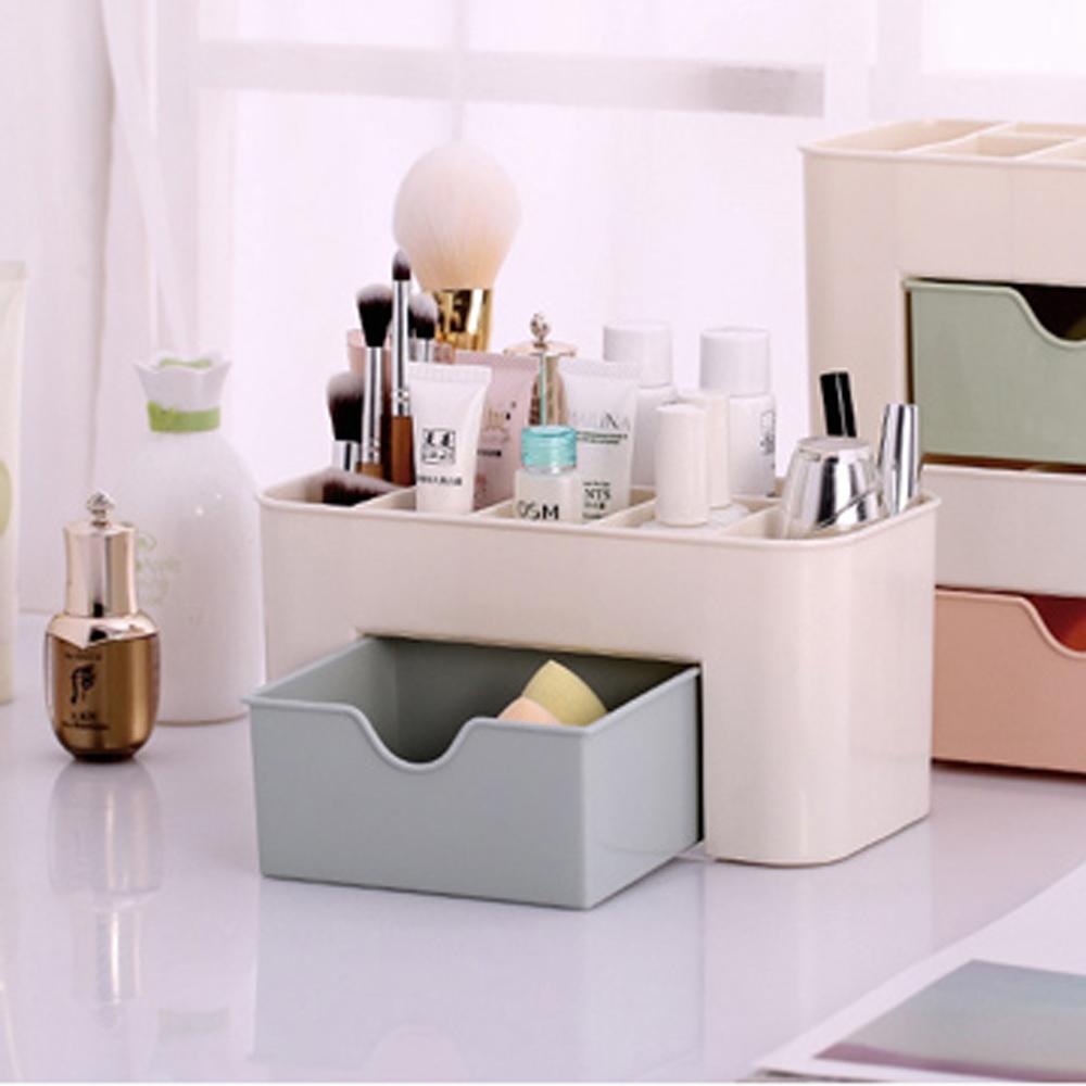 美娜甜心 抽屜分隔設計化妝品收納盒(超值二入)