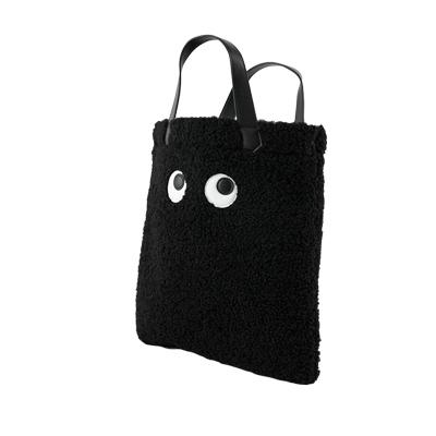 BESO 捲毛毛怪 大眼睛拼接兩用包~黑