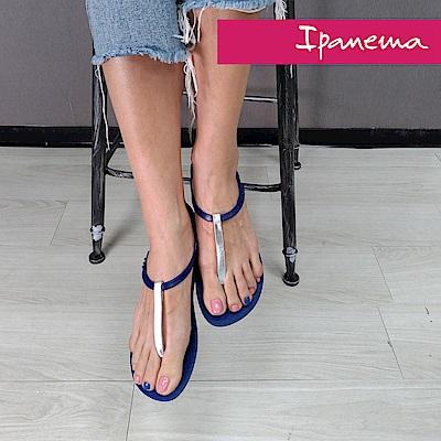IPANEMA典雅奢華T字涼鞋-藍色/銀色