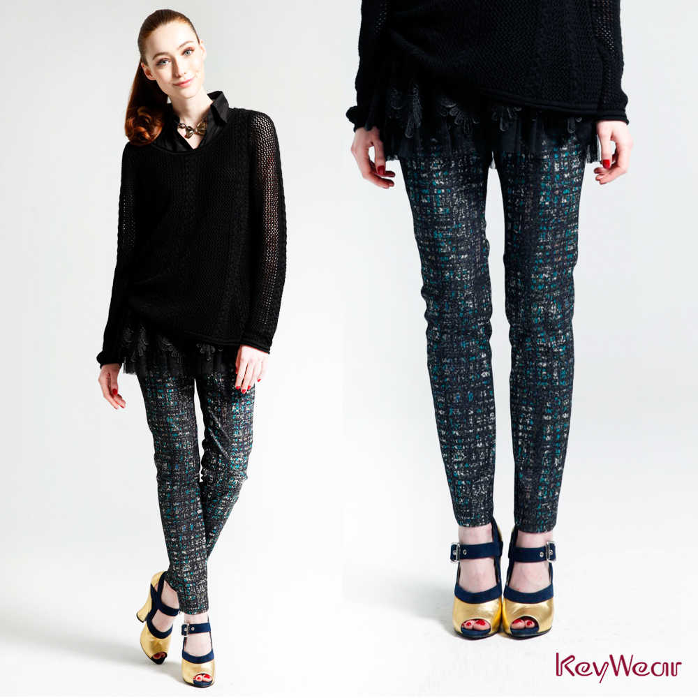 KeyWear奇威名品    摩登緹花八分褲-藍綠色