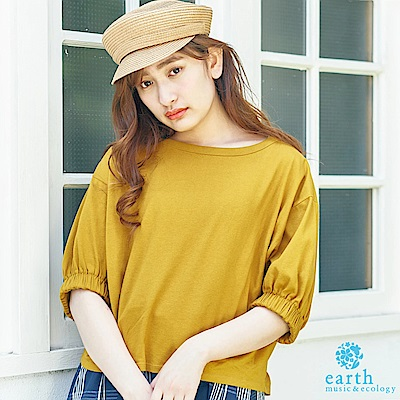 earth music 圓領蓬袖素面上衣