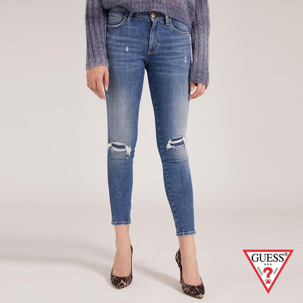GUESS-女裝-修身水洗刷色割破牛仔褲-藍 原價3490