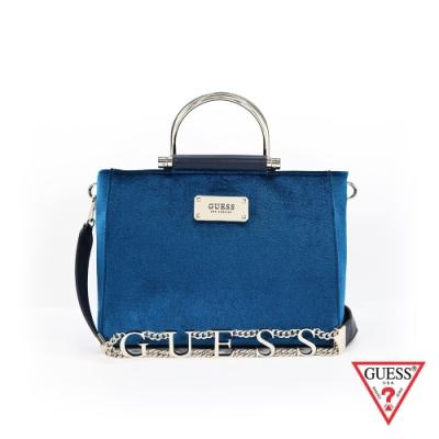GUESS-女包-簡約素面絨毛手提包-藍 原價3890