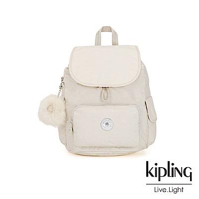 Kipling 優雅米白拉鍊掀蓋後背包-CITY PACK S