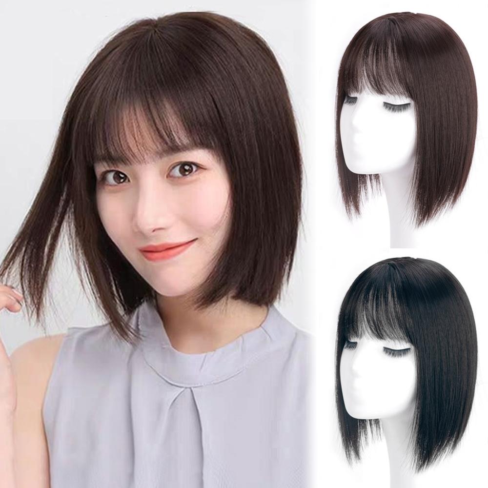 幸福揚邑 空氣瀏海頭頂補髮片遮白增髮量逼真大頭皮三卡減齡造型假髮25公分