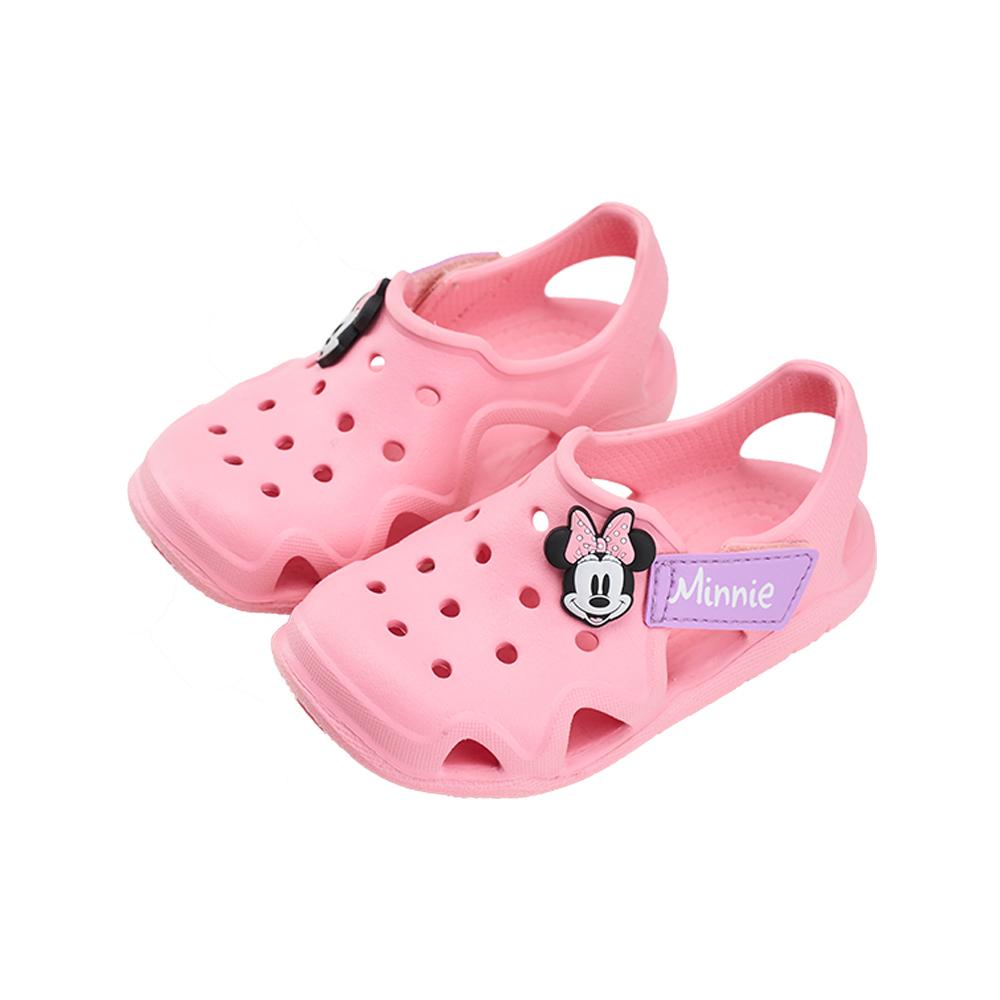 迪士尼童鞋 米妮 魔鬼氈防水洞洞涼鞋-粉