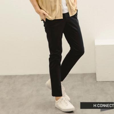 H:CONNECT 韓國品牌 男裝-純色百搭修身直筒褲-深藍色