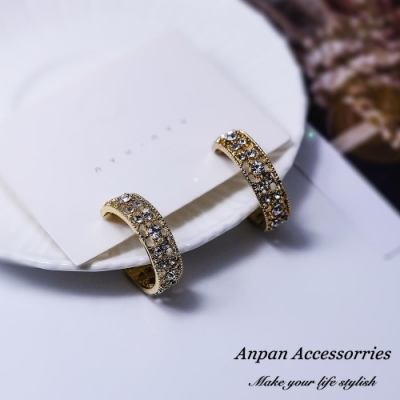 【Anpan 愛扮】韓東大門復古宮廷巴洛克水鑽C型鏤空925銀針耳釘式耳環