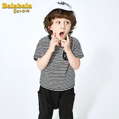 Balabala巴拉巴拉-條紋小貓貼布造型短袖套裝-男(黑白條紋)