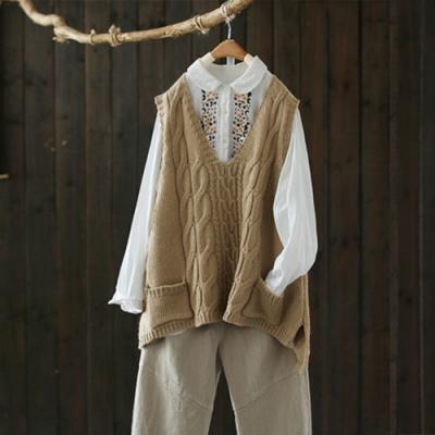 螺紋V領背心針織外穿寬鬆無袖毛衣上衣-設計所在