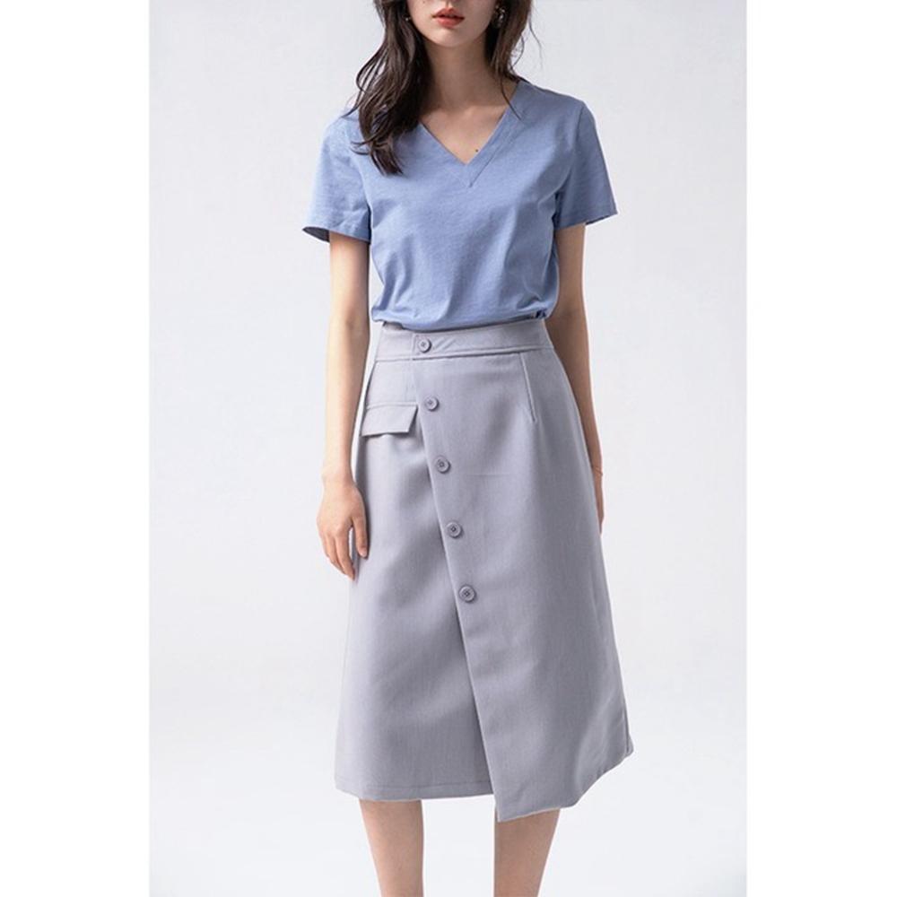 都會OL不規則開叉裙襬斜釦裝飾中裙S-L(共三色)-沐朵