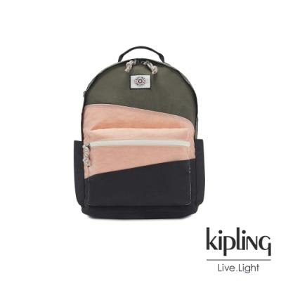 Kipling 甜美草莓抹茶拿鐵抽繩拉鍊後背包-DAMIEN