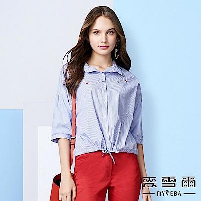 【麥雪爾】純棉蜜蜂愛心刺繡條紋襯衫