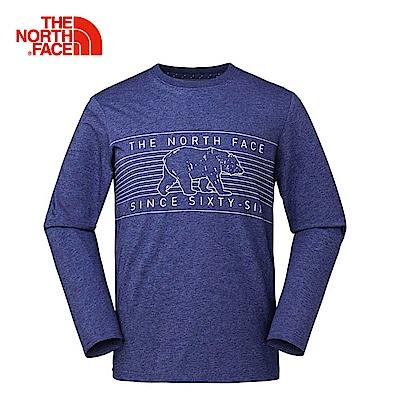 The North Face北面男款藍色印花舒適透氣長袖T恤 3L79LNL