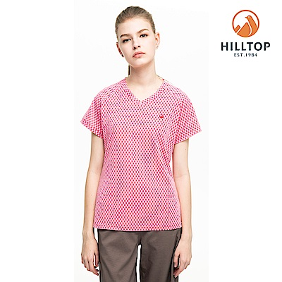【hilltop山頂鳥】女款吸濕快乾抗UV彈性緹花T恤S04FI2玫紅白