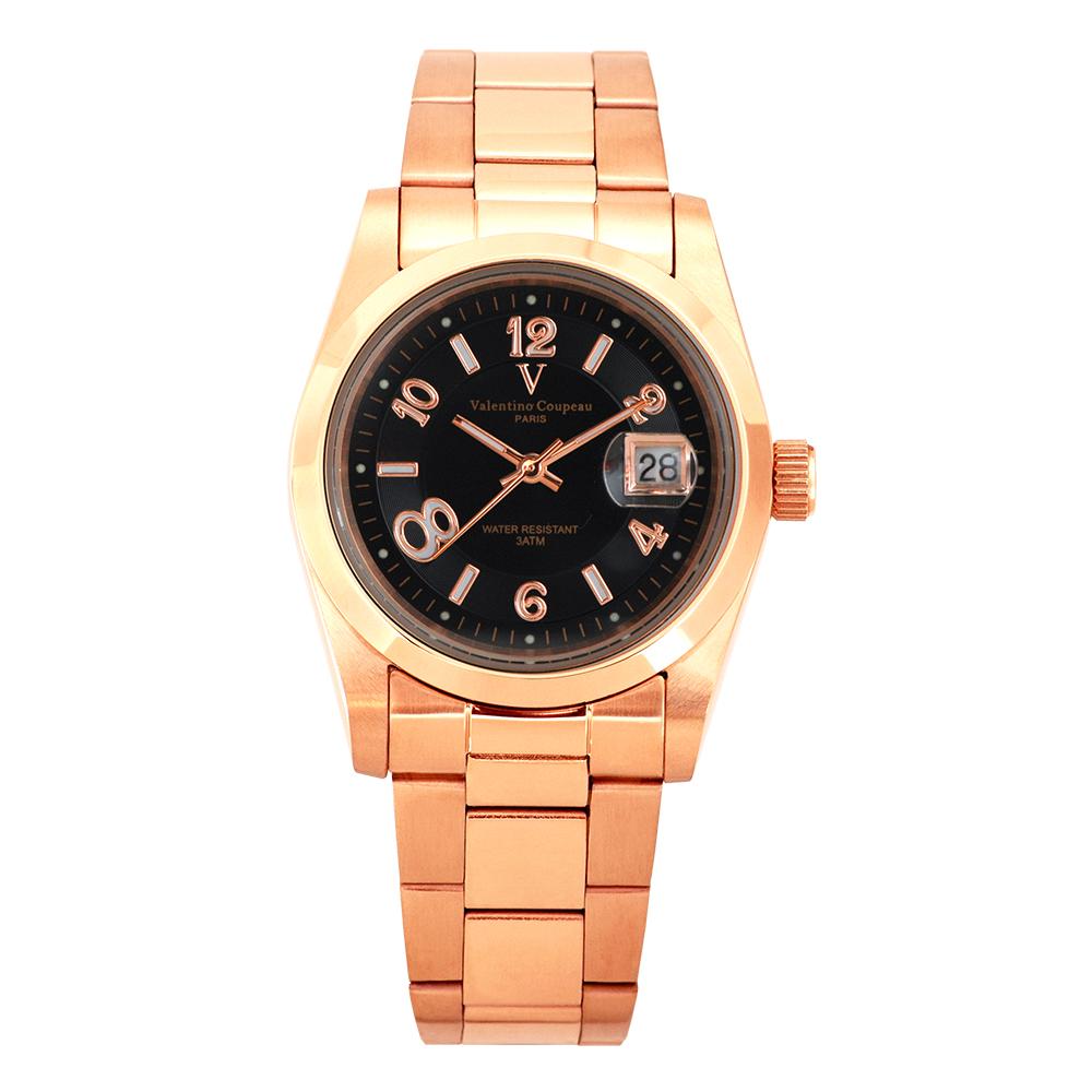 Valentino Coupeau 范倫鐵諾 古柏 都會數字腕錶 (全玫/黑面/男錶) @ Y!購物