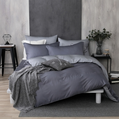 OLIVIA TWINS 藍灰X灰 特大雙人床包被套四件組 MOC莫代爾棉 台灣製