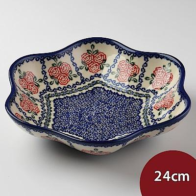 【波蘭陶 Vena】 漫野薔薇系列 花型盤 大 24cm 波蘭手工製
