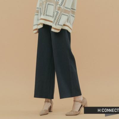H:CONNECT 韓國品牌 女裝-絨面後腰鬆緊寬褲-黑
