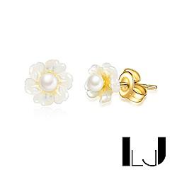 Little Joys 旅美原創設計品牌 森林系花瓣手工母貝珍珠耳釘 925銀鍍金