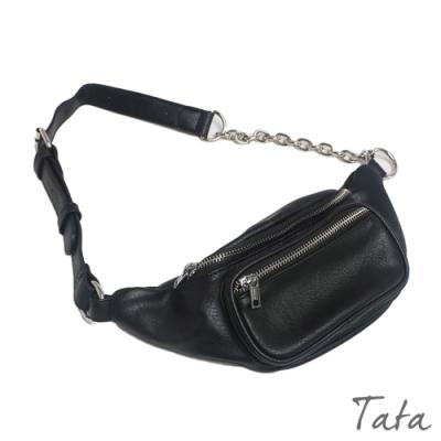 鍊條皮革斜背腰包 TATA