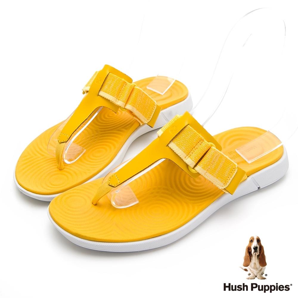 Hush Puppies 人氣輕量魔鬼氈夾腳拖鞋-黃色