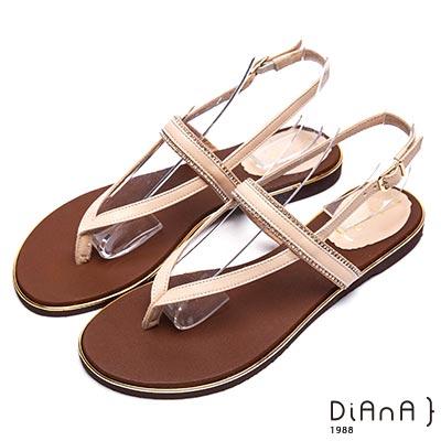 DIANA 夏日浪漫-水鑽繞帶夾腳平底涼拖鞋-米