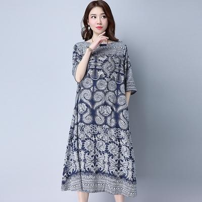 米蘭精品 連身裙短袖洋裝-民族風圖騰印花中長款女裙子73xz50