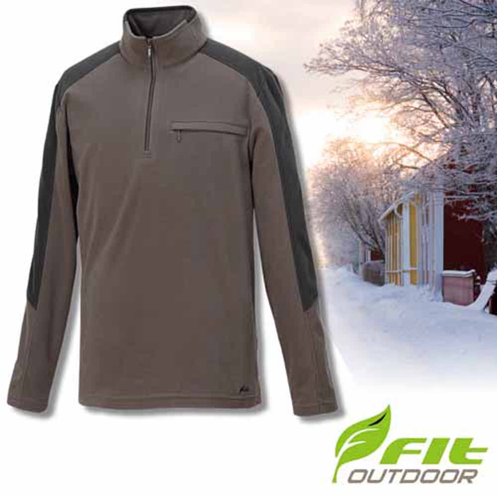 FIT 男款 雙刷雙搖保暖長袖配色衣_GW1109-95 綠卡其 V