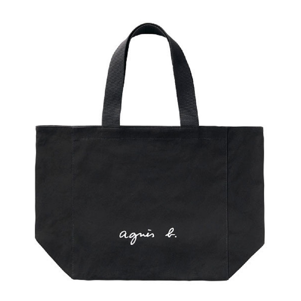 agnes b. Voyage 帆布 logo 托特包 (黑)