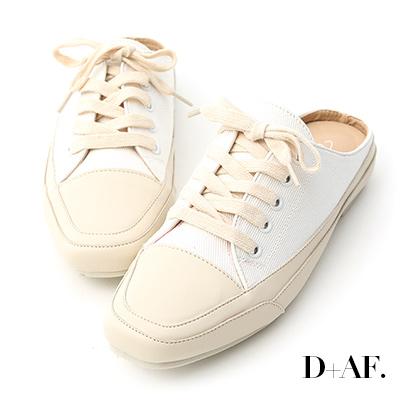 D+AF 隨性有型.小方頭帆布休閒穆勒鞋*白