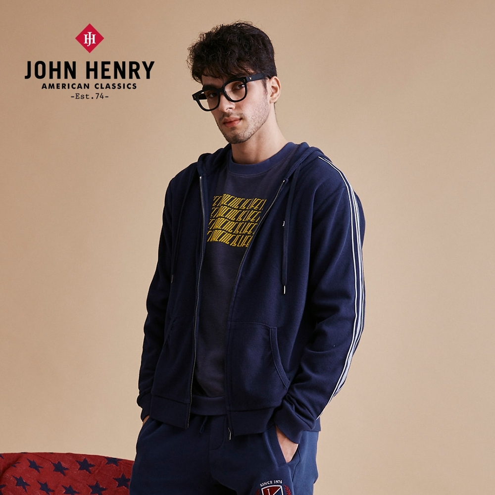 【JOHN HENRY】美式休閒運動織帶外套-藍