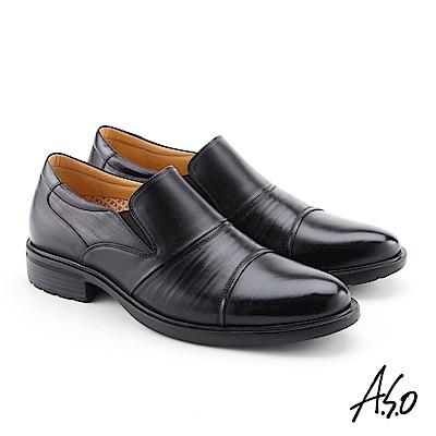 A.S.O 零壓挺力 牛皮摺紋輕量奈米紳士鞋 黑