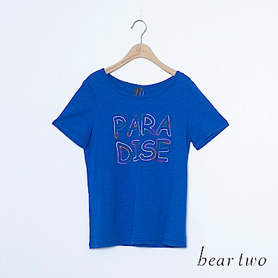 beartwo 純棉繽紛英文字刺繡T恤上衣(二色)